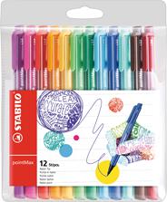 Stabilo pointMax Zwart, Blauw, Bruin, Groen, Lichtblauw, Lichtgroen, Oranje, Roze, Paars, Rood, Geel 12stuk(s) fijnschrijver
