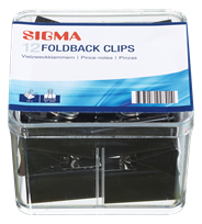 Sigma Papierklemmen zwart 41 mm 12 stuks