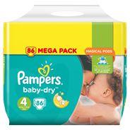 Pampers Baby-Dry Maat 4, 86 Luiers, Voor Droge Ademende Huid