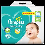 Pampers Baby-Dry Maat 4+, 80 luiers