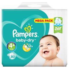 Pampers Baby-Dry Maat 4+, 80 Luiers, Droge Ademende Huid