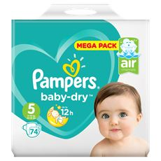 Pampers Baby-Dry Maat 5, 74 Luiers, Voor Droge Ademende Huid