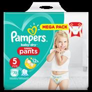 Pampers Baby-Dry Pants S5, 72 luierbroekjes