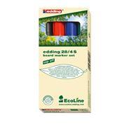 Edding Marker do tablic suchościeralnych z okrągłą końcówką ekologiczny mix kolorów 4 sztuki