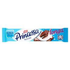 Princessa longa mleczna Wafel przekładany kremem kakaowym oblany mleczną czekoladą 45 g 28 sztuk