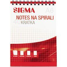 Sigma notes na spirali w kratkę A6 5 sztuk