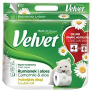 Velvet Rumianek i Aloes Podwójnie Długi Papier toaletowy 4 rolki
