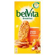belVita Śniadanie Orzechy + miód Ciastka z pełnym ziarnem 300 g (6 x 4 sztuki)
