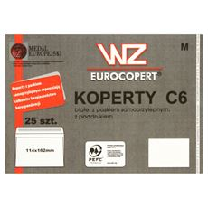 WZ Eurocopert Koperty C6 białe z paskiem samoprzylepnym z poddrukiem 25 sztuk