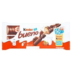 Kinder Bueno Wafel w mlecznej czekoladzie wypełniony mleczno-orzechowym nadzieniem 43 g (2 batony)