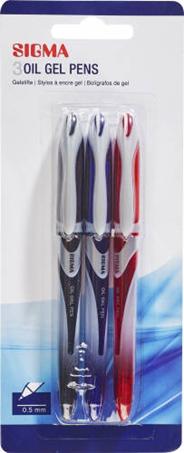 Sigma Długopis żelowy mix 3 sztuki