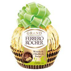 Ferrero Rocher Grand Figurka z mlecznej czekolady z kruszonymi orzechami laskowymi i 2 Ferrero Rocher w środku 125 g