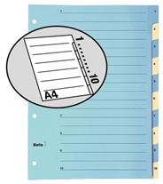 Biella Mylar Przekładki kartonowe indeks 1-10 dwukolorowe A4 10 sztuk