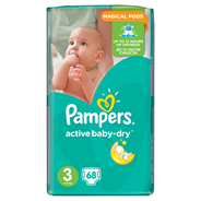 Pampers Active Baby-Dry rozmiar 3 (Midi), 68 pieluszek