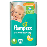 Pampers Active Baby-Dry rozmiar 5 (Junior), 50 pieluszek