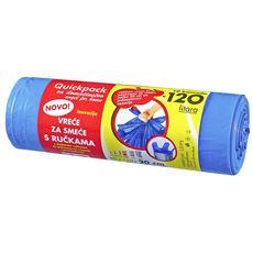Quickpack Worki z uszami niebieskie 120 l 10 sztuk