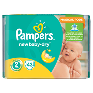 Pampers New Baby-Dry rozmiar 2 (Mini), 43 pieluszki