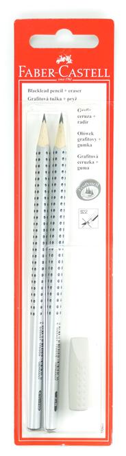 Ołówek GRIP 2001/HB,B 2 sz. + gumka nakładka szara 1 szt
