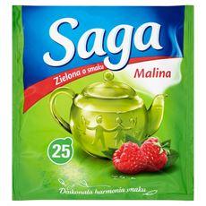 Saga Herbata zielona o smaku malina 32,5 g (25 torebek)