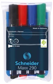 Schnider  Maxx 290 Zestaw markerów do tablich i flipchartów mix kolorów 2-3 mm 4 sztuki