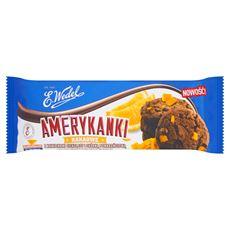E. Wedel Amerykanki Kruche ciastka kakaowe z kawałkami czekolady i skórką pomarańczową 125 g