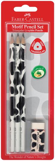 Ołówek trojkątny + gumka, motyw krowa
