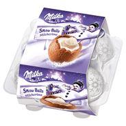 Milka Snow Balls Czekoladowe kulki z nadzieniem z mleka alpejskiego 112 g (4 sztuki)