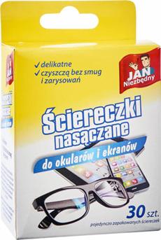 Jan Niezbedny ściereczki nasączane do okularów, opakowanie: 30szt