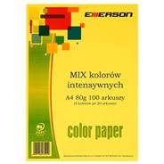 Emerson Papier kolorowy intensywne kolory mix 100 arkuszy 80 g A4