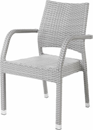 Krzesło rattanowe Barbados z podłokietnikami, kolor biały przecierany