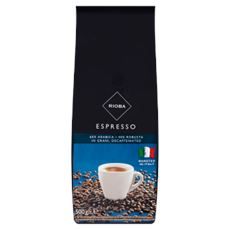 Rioba Espresso Kawa palona bezkofeinowa ziarna 500 g