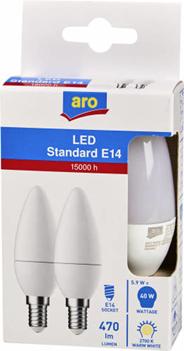 Aro żarówka LED świeczka E14 5,9W 2700K 2 sztuki