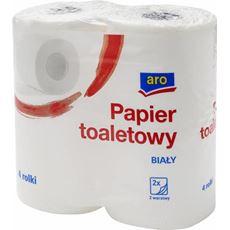 Aro Papier toaletowy 2 warstwowy biały 4 rolki