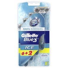 Gillette Blue3 Ice Jednorazowe Maszynki Do Golenia Dla Mężczyzn, 6+2 sztuk