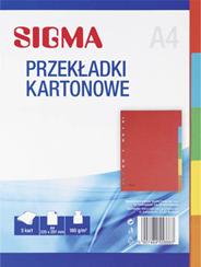Sigma Przekładki kartonowe 1-5 mix kolorów A4 5 sztuk