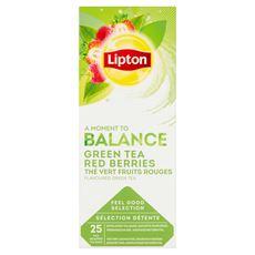 Lipton Herbata zielona o smaku maliny i truskawki 35 g (25 x 1,4 g)