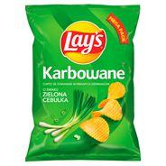 Lay's Chipsy ziemniaczane karbowane o smaku zielonej cebulki 210 g