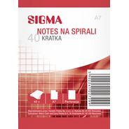Sigma notes na spirali w kratkę A7 5 sztuk