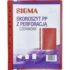 Sigma skoroszyt z perforacją, czerwony, 25 sztuk