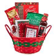 Paczka Świąteczna WESOŁYCH ŚWIĄT Najsłodsze życzenia, w czerwonym koszyku ozdobnym