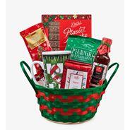 Paczka Świąteczna WESOŁYCH ŚWIĄT Najsłodsze życzenia, w zielonym koszyku ozdobnym