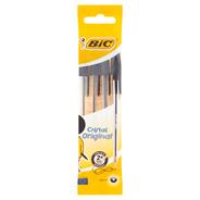 BIC Cristal Original Długopis czarny Pouch, w opakowaniu 4szt