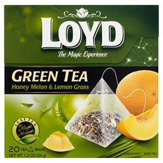 Loyd Herbata zielona aromatyzowana o smaku melona z trawą cytrynową 34 g (20 torebek)