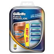 Gillette Fusion Proglide Żyletki 4 sztuki + Nawilżający żel do golenia