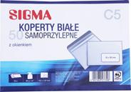 Sigma Koperty samoprzylepne z okienkiem białe C5 50 sztuk