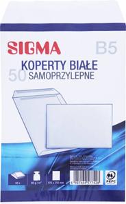 Sigma Koperty samoprzylepne białe B5 50 sztuk