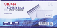 Sigma Koperty samoprzylepne z okienkiem białe DL 50 sztuk
