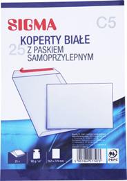 Sigma Koperty samoprzylepne białe C5 25 sztuk