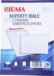 Sigma Koperty samoprzylepne białe B5 25 sztuk