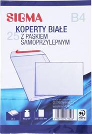 Sigma Koperty samoprzylepne białe B4 25 sztuk